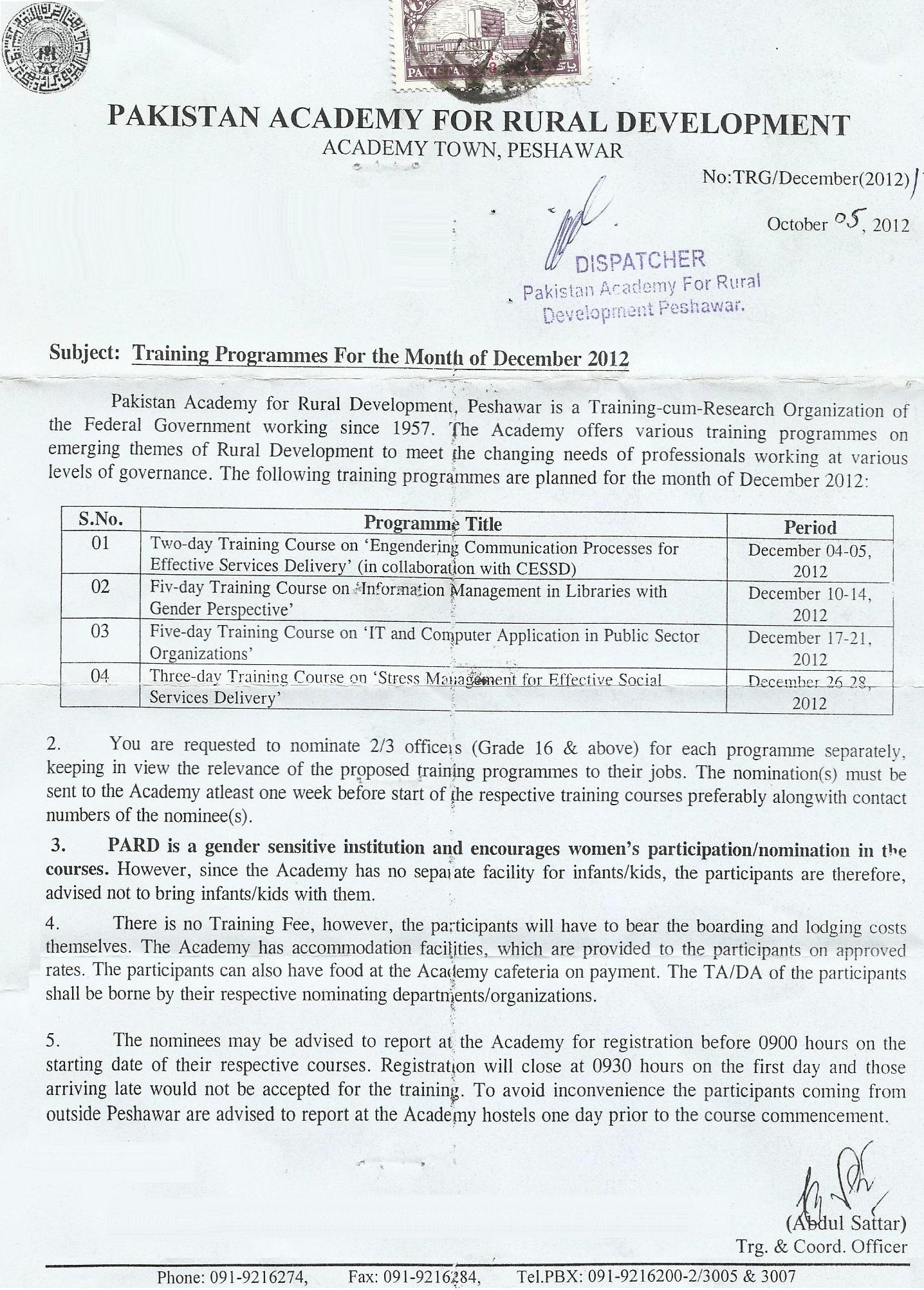 PARD December Training Calendar 2012